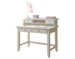 Home Styles Naples Student Desk with Hutch - White modern desks