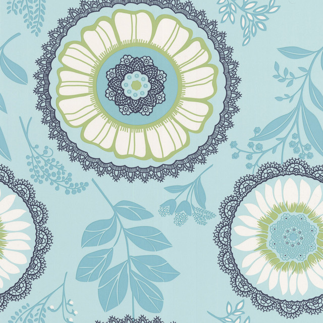 Graham and Brown Amy Butler Wallpaper - Lacework - Ocean, Swatch modern wallpaper