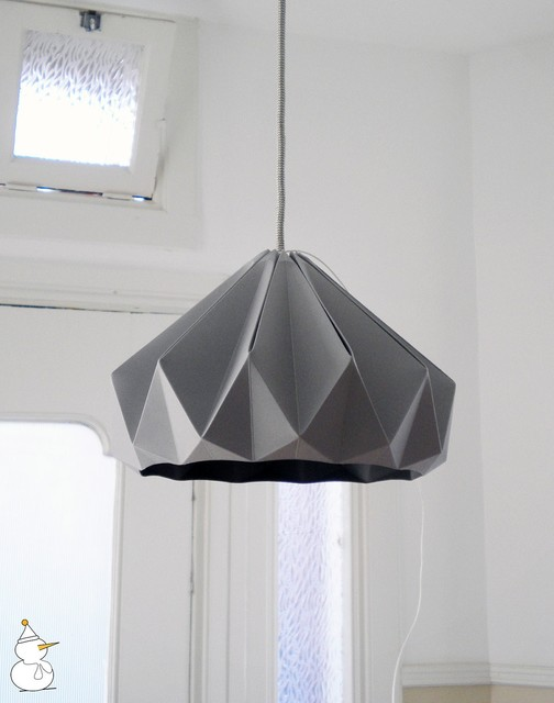 Chestnut Folded Paper Origami Lampshade, Light Gray eclectic-lamp-shades