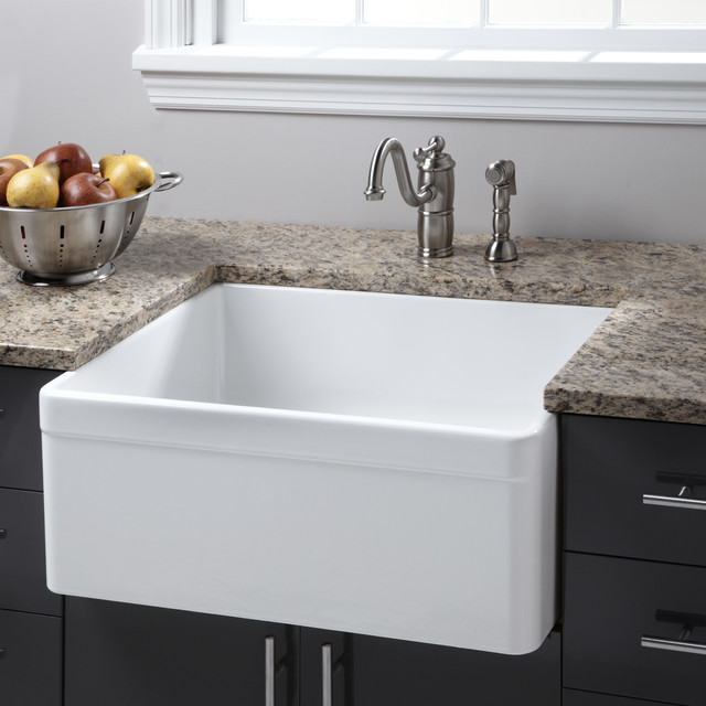 Farmhouse Fireclay Sink : ... Fireclay Farmhouse Sink - Decorative Lip contemporary-kitchen-sinks