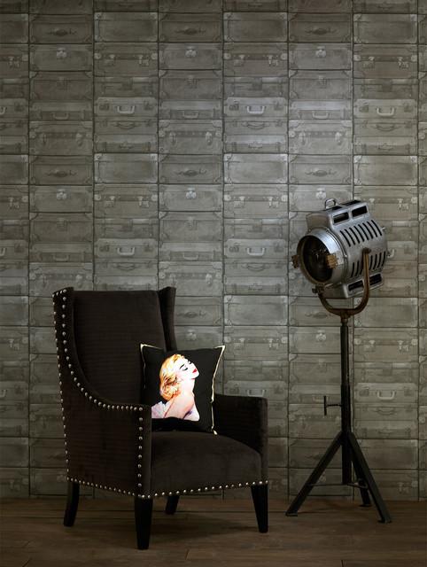 British Industrial Stacked Luggage Wallpaper - Gunmetal transitional-wallpaper