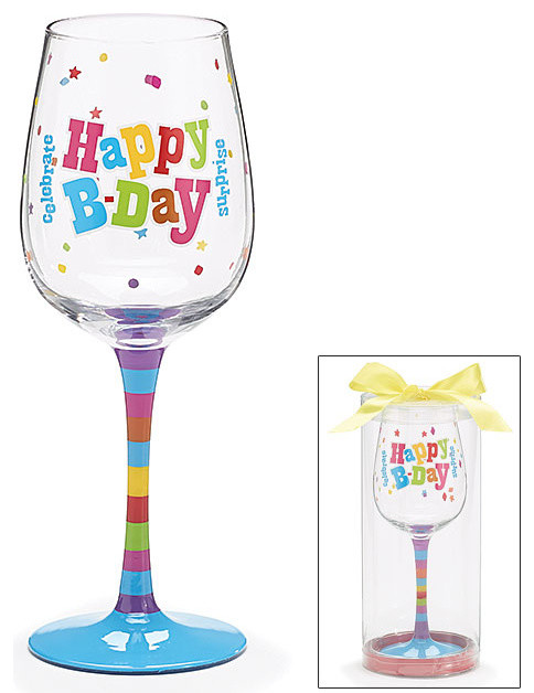 Happy Birthday Wine Glass - Decorative Cup - Cute And Fun For Bday Celebrations contemporary-wine-glasses
