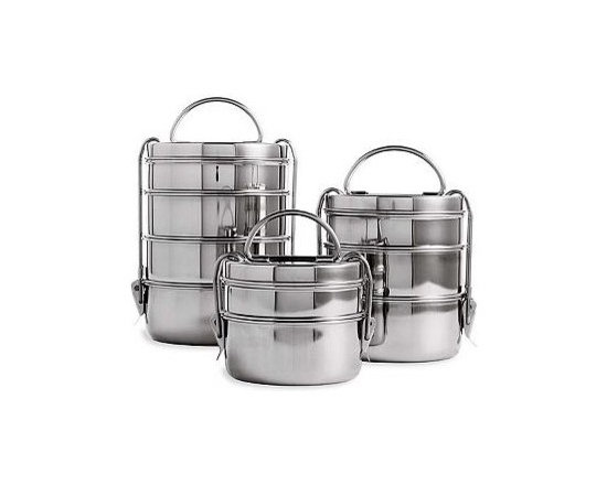 """Tiffin Lunch Box Set, Steel - This is a classic """"tiffin"""" set, just like people use in India. Why mess with a winning design? I'd love to pack curry, rice, dal and Naan bread (or anything else) in there!"""