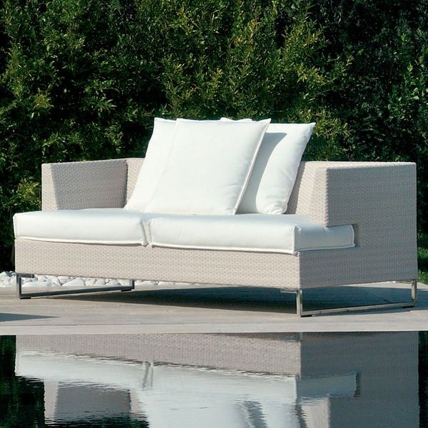 Outdoor Sofa in White Wicker - Outdoor Sofas - chicago - by Home Infatuation