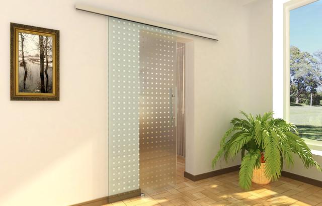 Modern barn door hardware for glass door modern for Interior glass barn door designs