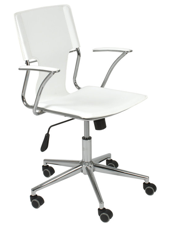 Eurostyle - Terry Office Chair-White/Chrome - Want to revitalize your work space? Start with this sleek office chair. The lighter, leaner design and ergonomically positioned arms bring style and comfort to you while you bask in your home office.