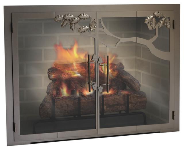 Oak Tree Premier Design Fireplace Glass Door Custom Product Traditional