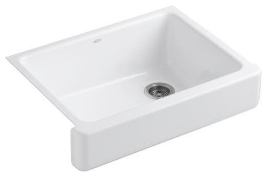 "Kohler K-6486-0 White Whitehaven Whitehaven 30"" Single Basin contemporary-kitchen-sinks"