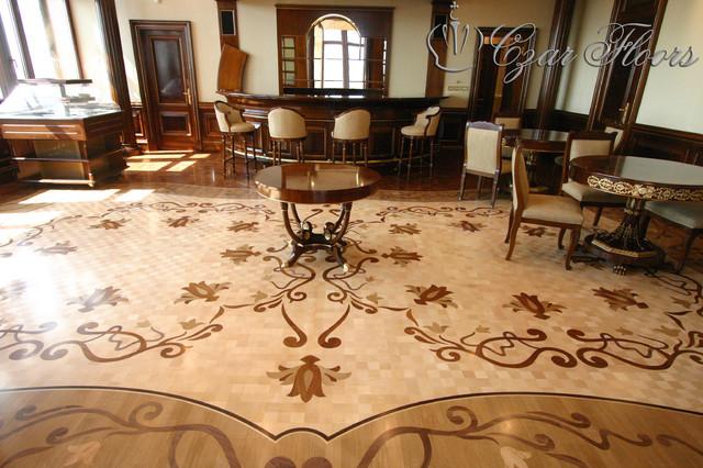Full floor wood inlay by czar floors for Inlaid wood floor designs