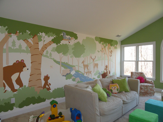 Forest Of Friends For A Family Room Traditional Kids