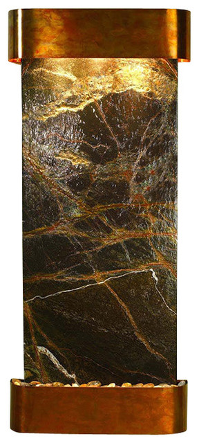 Inspiration Falls Wall Fountain, Rustic Copper, Green Rainforest Marble, Rounded transitional-indoor-fountains
