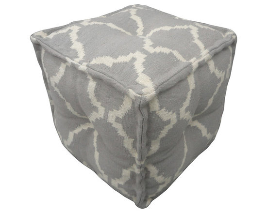 Jaipur Rugs - Cadiz Alhambra Pouf, Pearl & Natural - The Cadiz collection is a modern collection of square poufs hand woven from 100% cotton. The casual pouf collection uses strong simple geometrics in bold colors and can be easily coordinated with the Jaipur Urban Bungalow and Maroc flat weave rug collection.