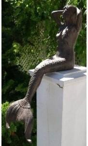 Cast Iron Sitting Mermaid Figure garden-sculptures