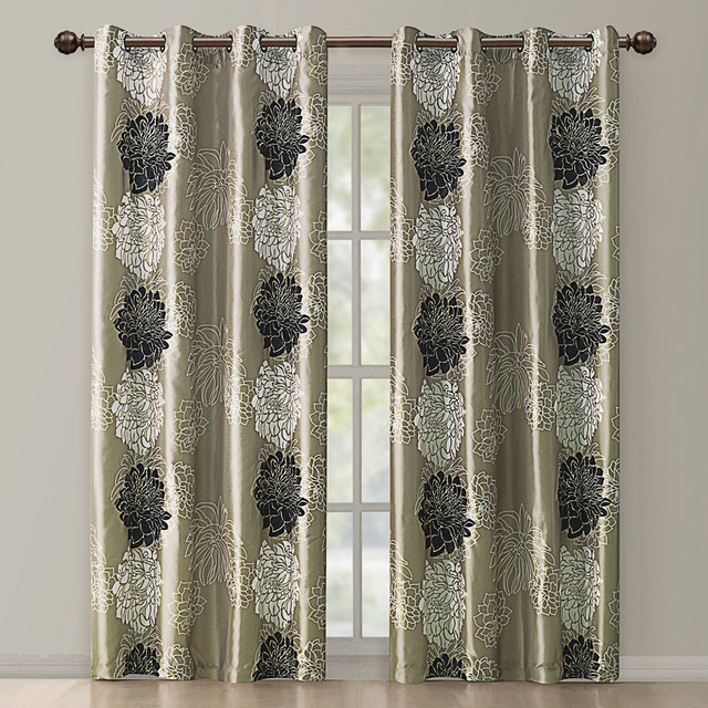 atwood gold black modern floral grommet curtain panel