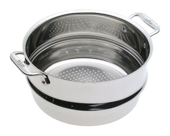 All-Clad - All-Clad 8 Qt. Professional Steamer Insert - The large, stainless steel professional steamer insert is designed to fit 6, 8 and 12 quart All-Clad stock pots. Stainless riveted side loop handles make removal of the insert easy. Simply add vegetables or seafood to the insert to quickly prepare fresh and flavorful dishes.  Durable heavy-gauge stainless construction Sits deep into the pan Fits All-Clad 6, 8 and 12-quart stock pots Easy grip riveted loop handles Lifetime warranty Made in China
