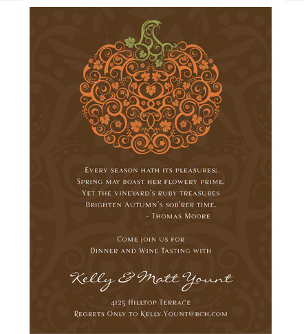 Filigree Pumpkin Chocolate Halloween Invitations by Noteworthy Collections contemporary
