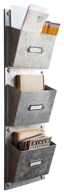 Galvanized Vertical File - Modern - Desk Accessories