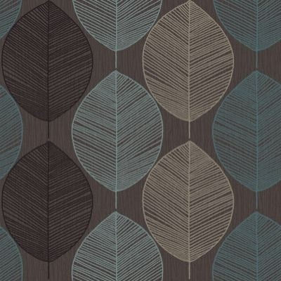 Retro Leaf Choc Teal Wallpaper By Wallpaperdirect