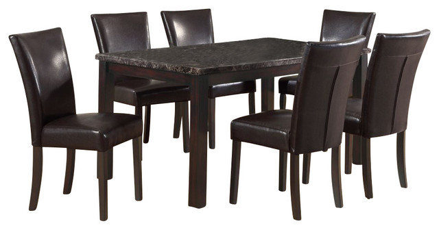Monarch Specialties 7-Piece 60 x 36 Dining Room Set in Dark Espresso transitional-dining-sets
