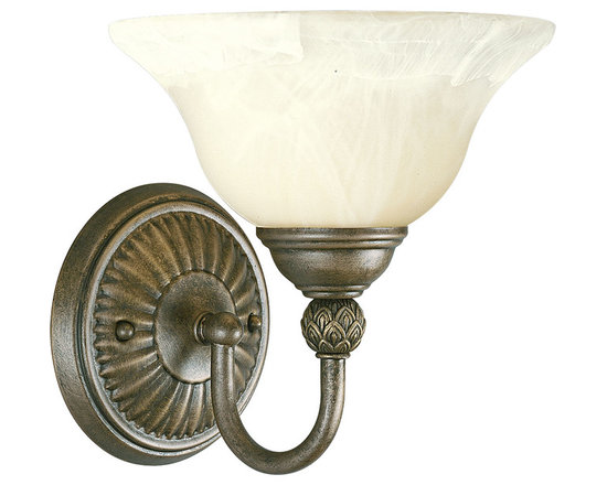 Progress Lighting Savannah One-Light Wall Sconce - One-light sconce with antique alabaster glass bowl, twisted rope and pineapple patterned details
