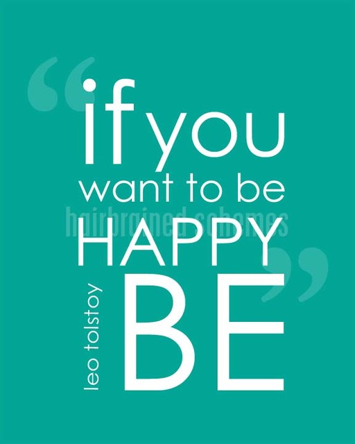 If You Want to Be Happy BE Art Print, Turquoise contemporary-novelty-signs