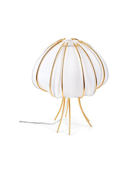 CreativeMary - Ane Table Lamp - Ane Table Lamp is the embodiment of peace, offering the best of the good realities of life. Features an elastic fabric shade in Black or White finished in 24k Gold. Available in Small and Large sizes. One 40 watt, 120 volt A19 type Medium base incandescent bulb is required, but not included. Small: 11 inch width x 15.8 inch height. Large: 14.9 inch width x 20.1 inch height.