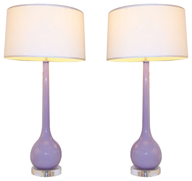 Pair Of Lilac Ball And Stem Lamps