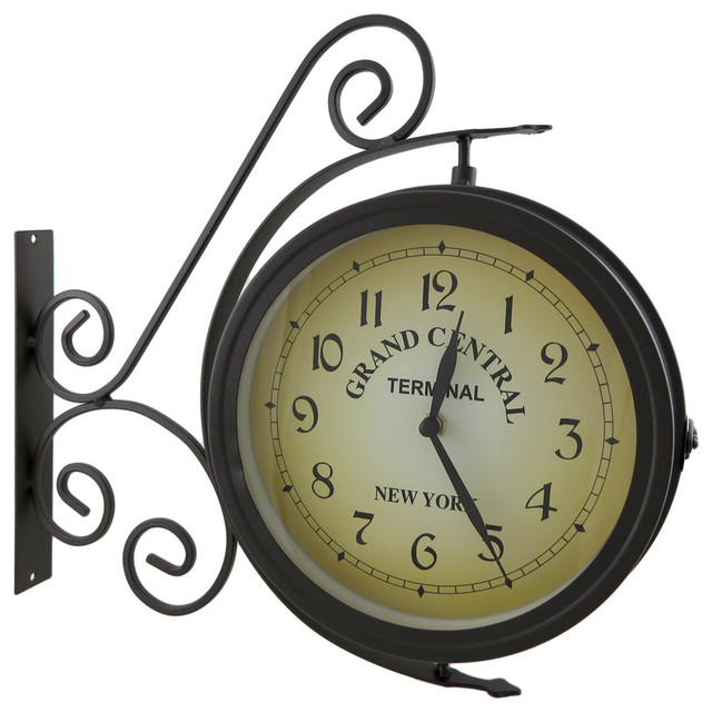 Rotating Double Sided Clock/Thermometer w/Decorative Bracket - Traditional - Clocks - by Zeckos
