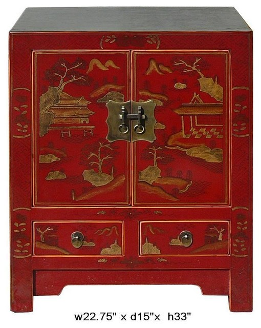Chinese Red Lacquer Villa & Mountain View Motif End Table / Night Stand modern-side-tables-and-accent-tables