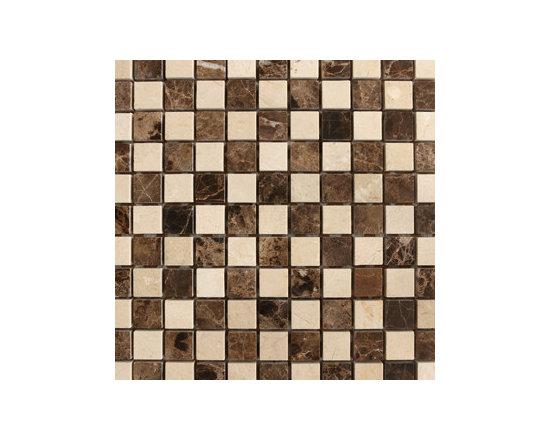 Crema Marfil & Emperador Dark Checkerboard Natural Stone Mosaic -