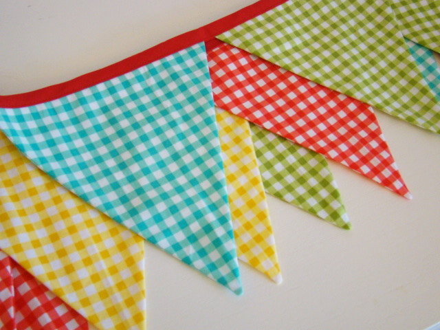 Fabric Banner Bunting Picnic Gingham by PaisleyHandmade eclectic-home-decor
