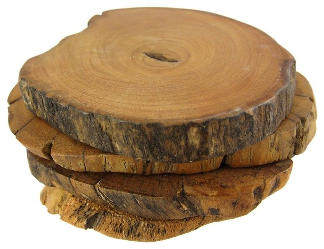 Set of 4 Eucalyptus Wooded Slice Coasters Wood rustic-barware