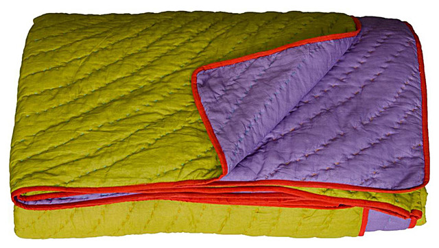 King Coverlet, Reversible, Lime/Purple contemporary-quilts