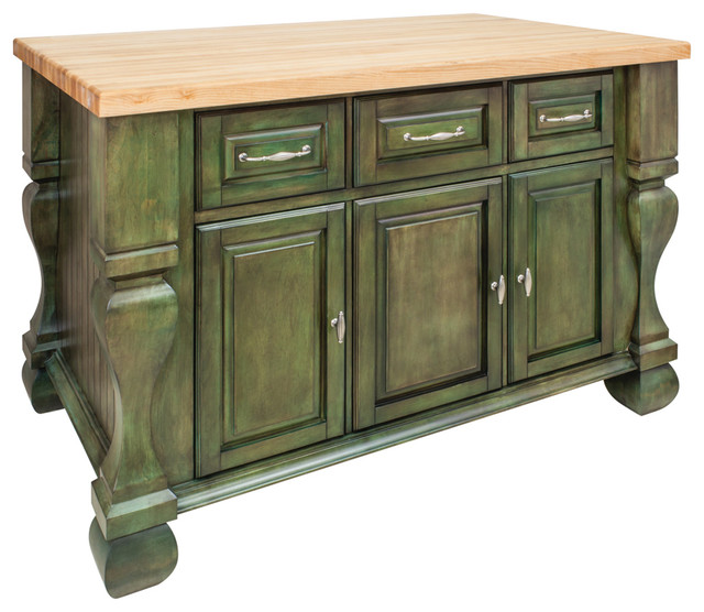 Antique green island with three drawers cabinets rustic for Antique kitchen island