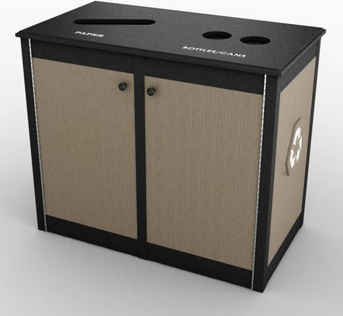 Nex-Terra SLG Top Opening 32 Gallon Tan Double Recycling Bin modern-waste-baskets