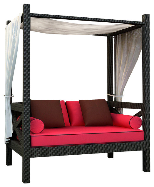 Barbados Outdoor Canopy Day Lounger, Flagship Ruby Cushions modern-outdoor-sofas