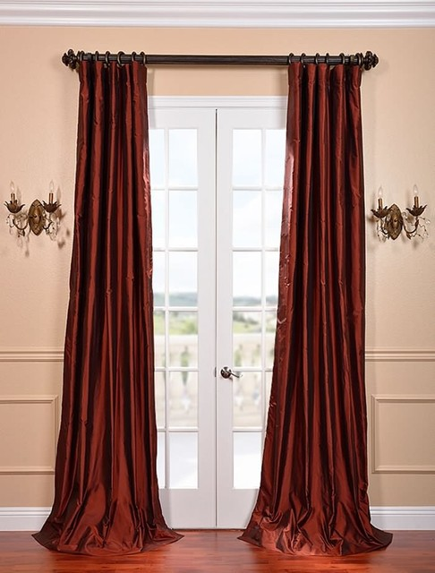 Cognac Silk Taffeta Curtain curtains