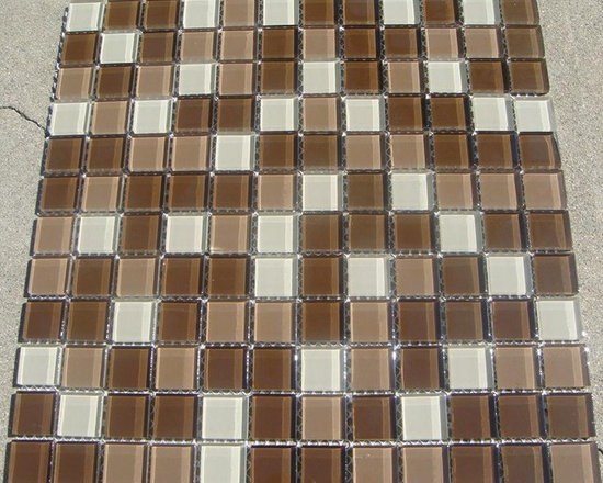 A01 Lt/Dk Brown and Beige Glass Mosaic Tile - Lt/Dk Brown and Beige Glass Mosaic Tile A01
