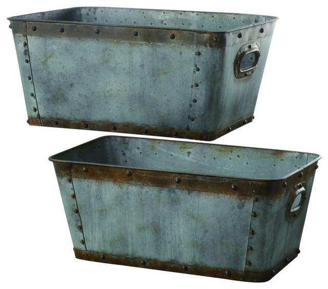 Crestview Cvtra248 Galvanized Metal Tubs S 20 H L 22 H