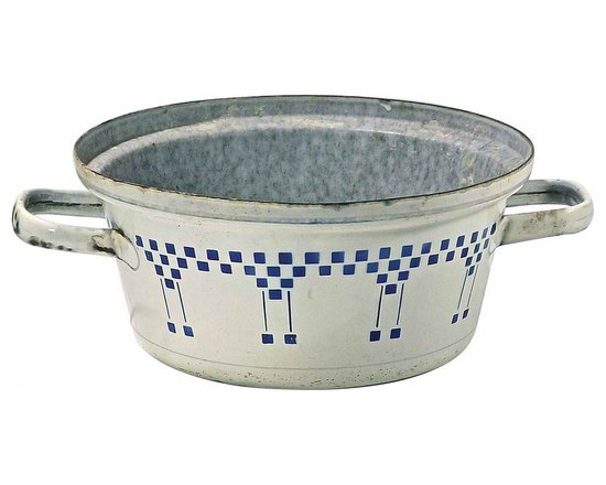 Enameled Ice Bucket - Vintage metal and enamel ice bucket with handles and blue checkered square motif.