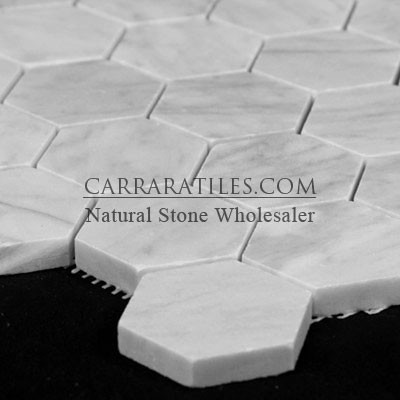 Carrara Marble Italian White Bianco Carrera 2 Hexagon Mosaic Tile Honed  floor tiles