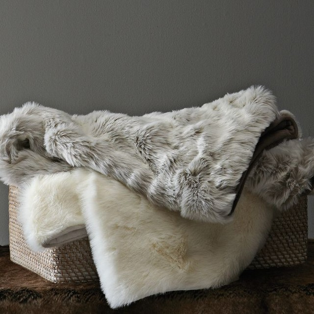 faux fur throw lynx contemporary throws by west elm. Black Bedroom Furniture Sets. Home Design Ideas