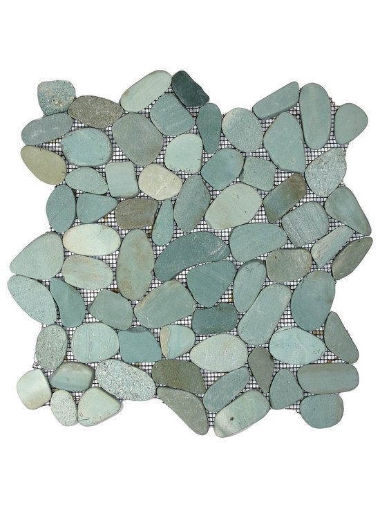 """Pebble Tile Shop - Sliced Sea Green Pebble Tile - Each pebble is carefully selected and hand-sorted according to color, size and shape in order to ensure the highest quality pebble tile available.  The stones are attached to a sturdy mesh backing using non-toxic, environmentally safe glue.  Because of the unique pattern in which our tile is created they fit together seamlessly when installed so you cant tell where one tile ends and the next begins! Usage:   Shower floor, bathroom floor, general flooring, backsplashes, swimming pools, patios, fireplaces and more.  Interior & exterior. Commercial & residential. Details:   Sheet Backing: Mesh   Sheet Dimensions: 12\ x 12\""""   Pebble size: Approx 3/4\"""" to 2 1/2\""""   Thickness: Approx 3/8\""""   Finish: Natural Sliced Green"""""""