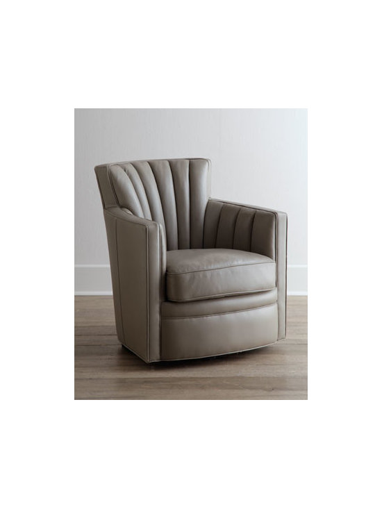 "Horchow - Shelby Swivel Leather Chair - An updated version of the classic barrel chair, this contemporary version features channeling on the back and inside arms. A swivel base adds versatility. Frame made of select hardwoods. Top-grain leather upholstery. 30""W x 33""D x 34""T. Imported. ...."