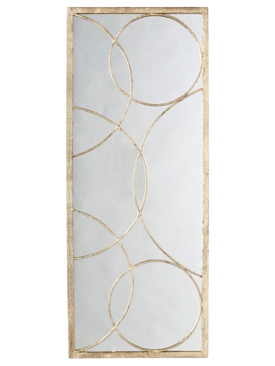 Arteriors Nikita Mirror - Rectangular iron accent mirror with gold leaf finish features a geometric overlay of intersecting circles on top of a plain mirror. Can be hung vertically or horizontally. Hang alone or with additional panels.