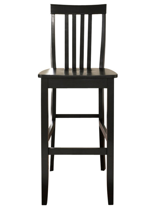 Crosley - School House Bar Stool, Black, 29 Inch - Constructed of solid hardwood, this School House style bar stool is designed for longevity. Contoured seats and shaped back provide the ultimate in comfort. The 24 or 29 inch seat height makes this stool perfect for 36 inch height dining tables or counter seating. Skilled craftsmanship and attention to detail is sure to put the finishing touch on your home.