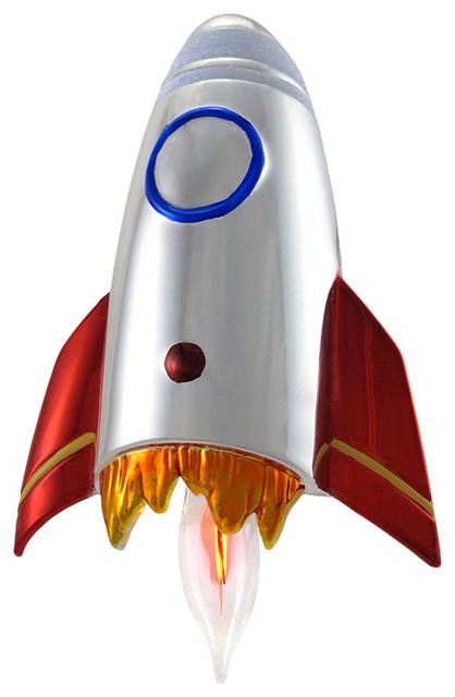 Flickering Metallic Rocket Ship Plug-in Nightlight contemporary-kids-lighting