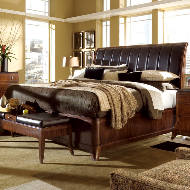 American Drew Bob Mackie Signature Sleigh Bed In Rosewood California King Traditional Beds