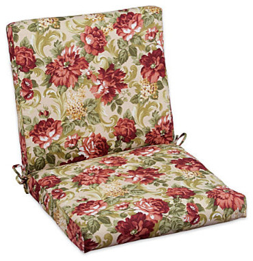 "22"" Hinged Back/Seat Cushion (Back: 22""x22""x3""; Seat: 22""x22""x3"") - Garden Rose contemporary-outdoor-lounge-chairs"