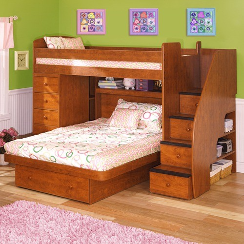 Sierra Twin over Full L-Shaped Bunk Bed with Chest & Stairs ...